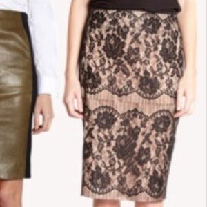 Lanvin Les 10 Ans lace overlay black nude skirt 42